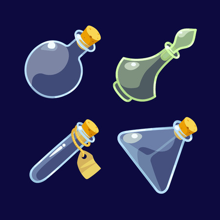 antidote: Vector illustration. Set of Cartoon Glass Bottles of potion.Isolated on a dark background.icon game magic. Game icon of magic elixir.Vector design for app user interface.Empty jar,bottle with stopper. Illustration