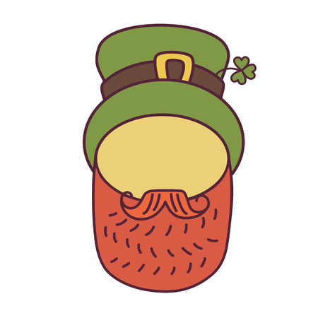 quarterfoil: St. Patrick s Day greeting. Vector illustration.Flat design icon on Saint Patrick s Day character leprechaun with green hat, red beard. No face.