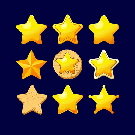 xp: Vector illustration.Set of Cartoon different Stars.Cartoon glossy Star isolated on a dark background. Game icon.Vector design for app user interface and score display.Set of wooden and golden stars.