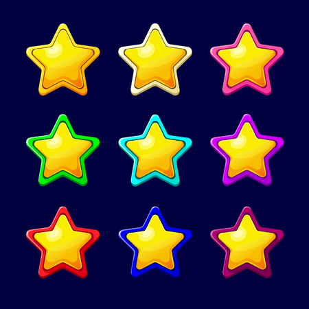 xp: Vector illustration. Set of Cartoon Stars.Cartoon colorful glossy Star in different colors isolated on a dark background.Game icon.Vector design for app user interface and score display.Golden stars.