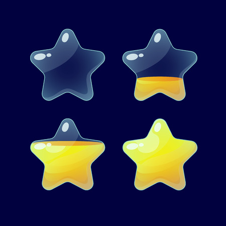 xp: Vector illustration.Set of Cartoon glossy Stars.Star isolated on a dark background.Game icon.Vector design for app user interface and score display.Golden stars.Ranking game elements.For animation