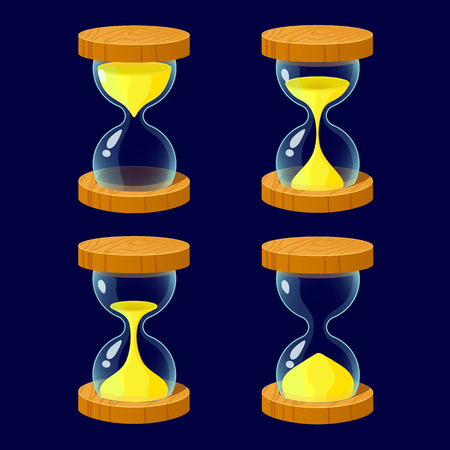 xp: Vector illustration.Set of Cartoon glossy hourglass.Hourglass isolated on a dark background.Game icon.Vector design for app user interface and score display..Ranking game elements.For animation Illustration