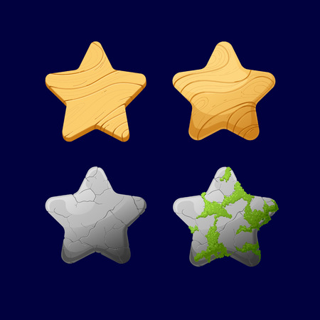 Vector illustration.Set of Cartoon different Stars.Glossy Star isolated on a dark background. Game icon.Vector design for app user interface and score display.Set of wooden and stone with moss stars.