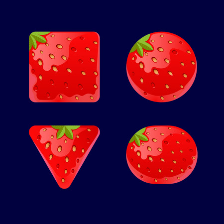 Vector illustration of a set of Cartoon red buttons, Strawberry kit for game ui development, vector gui elements. Menu buttons for web and game design.isolated on dark background Illustration