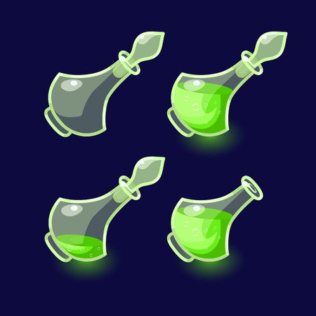 illustration. Set of Cartoon Bottles of potion.Glass flasks with colorful liquids isolated on a dark background. Game icon of magic elixir.design for app user interface.For animation Illustration