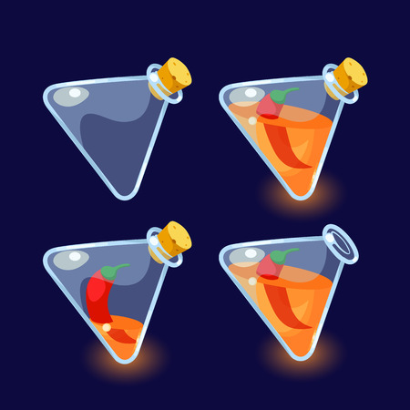 antidote: illustration. Set of Cartoon Bottles of potion.Glass flasks with colorful liquids isolated on a dark background. Game icon of magic elixir.design for app user interface.For animation Illustration