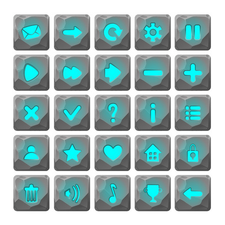 Set of Cartoon stone buttons with web icons, isolated elements. Gui elements, isolated games assets.menu set for mobile games.GUI elements kit.blue glow Ilustrace
