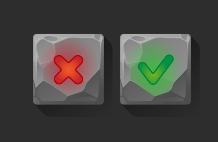validation: on off buttons pushed . User Interface.web buttons of validation icons.Approved and rejected buttons Illustration