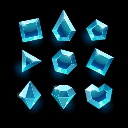 Set of cartoon blue different shapes crystals,gemstones,gems,diamonds gui assets collection for game design.isolated elements.Gui elements, games assets.menu for mobile games Illustration