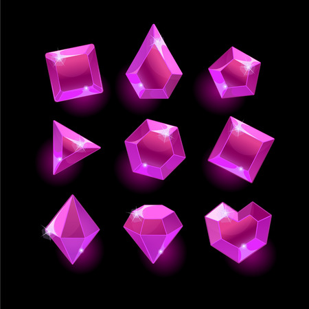 Set of cartoon purple,pink different shapes crystal,gemstones,gems,diamonds gui assets collection for game design.isolated elements.Gui elements,games assets.menu for mobile games
