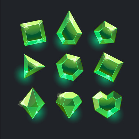 Set of cartoon green different shapes crystals,gemstones,gems,diamonds gui assets collection for game design.isolated elements.Gui elements, games assets.menu for mobile games 向量圖像