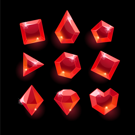 Set of cartoon red different shapes crystals,gemstones,gems,diamonds gui assets collection for game design.isolated elements.Gui elements, games assets.menu for mobile games