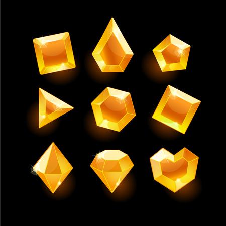 Set of cartoon orange different shapes crystals,gemstones,gems,diamonds gui assets collection for game design.isolated elements.Gui elements, games assets.menu for mobile games Illustration