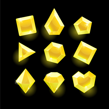 Set of cartoon yellow different shapes crystals,gemstones,gems,diamonds gui assets collection for game design.isolated elements.Gui elements, games assets.menu for mobile games Illustration