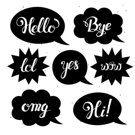 slang: set of comic speech bubbles in trendy flat style.  set of speech bubbles with phrases Hi, Hello, Thank you, Yes, Wow, Bye.Cute Internet Slang Wording Design Illustration Illustration
