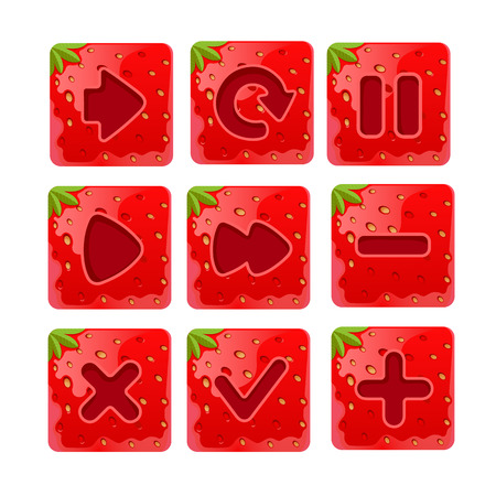 menu buttons: illustration of a set of Cartoon red buttons, Strawberry kit for game ui development, gui elements. Menu buttons for web and game design.isolated on white background Illustration