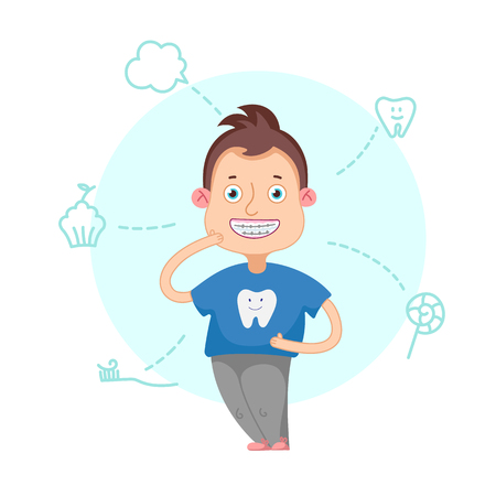 The boy with braces on a white background vector illustration.Funny cartoon character. Vector illustration.Dental children illustration.Beautiful, perfect smile, healthy teeth. Illustration