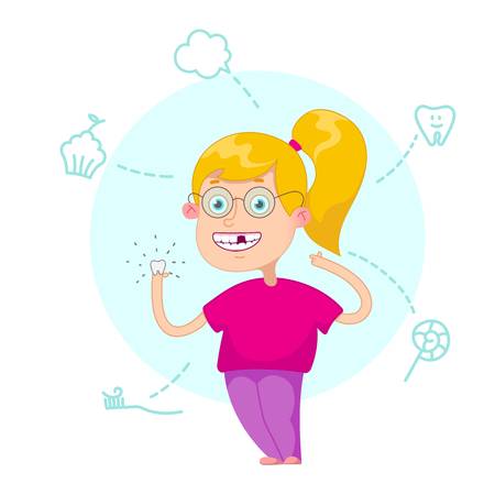 Funny cartoon character. Vector illustration.Dental children illustration. Girl lost a tooth. Pull teeth. Baby tooth.