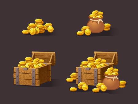 Pecho de madera para la interfaz del juego. Ilustración del vector. Tesoro de monedas de oro sobre fondo oscuro: cerrado, vacío, los cofres con monedas de oro coins.Icons monedas de dibujos animados para la web. Pila, bolsa.