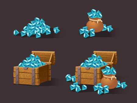 Cartoon Icons blue crystals,gemstones,gems,diamonds for the games interface web, game or application interfaces. Vector illustration, animation.Treasure chest on dark background