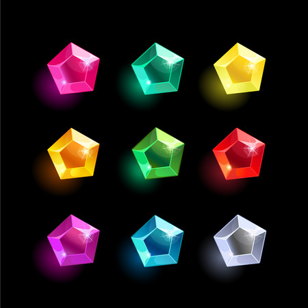 Set of cartoon pentagon different color crystals,gemstones,gems,diamonds vector gui assets collection for game design.isolated vector elements.Gui elements, vector games assets.menu for mobile games