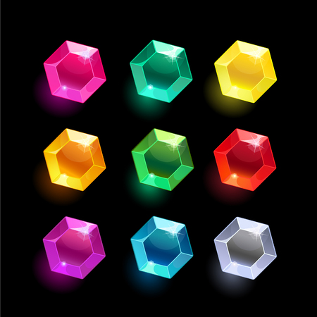 Set of cartoon hexagon different color crystals,gemstones,gems,diamonds vector gui assets collection for game design.isolated vector elements.Gui elements, vector games assets.menu for mobile games Illustration