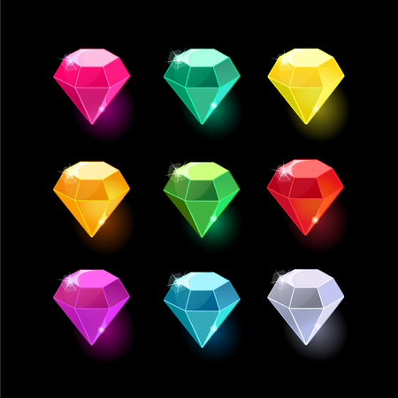 Set of cartoon different color crystals,gemstones,gems,diamonds vector gui assets collection for game design.isolated vector elements.Gui elements, vector games assets.menu for mobile games.Diamonds