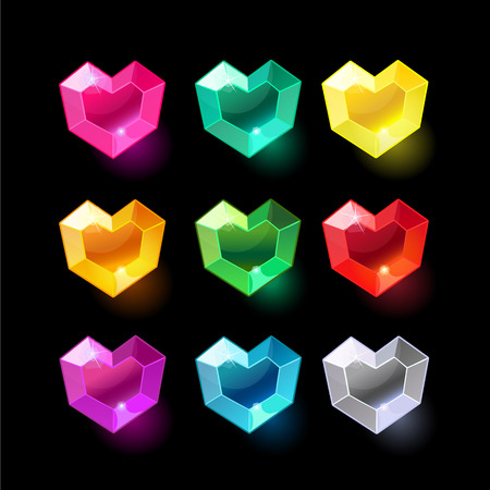 Set of cartoon heart different color crystals,gemstones,gems,diamonds vector gui assets collection for game design.isolated vector elements.Gui elements, vector games assets.menu for mobile games Illustration