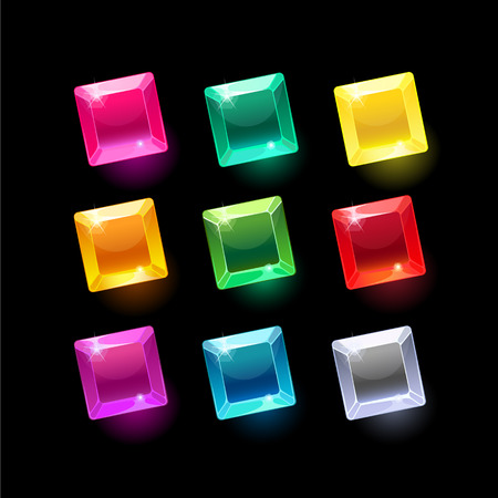 Set of cartoon square different shapes crystals,gemstones,gems,diamonds vector gui assets collection for game design.isolated vector elements.Gui elements, vector games assets.menu for mobile games