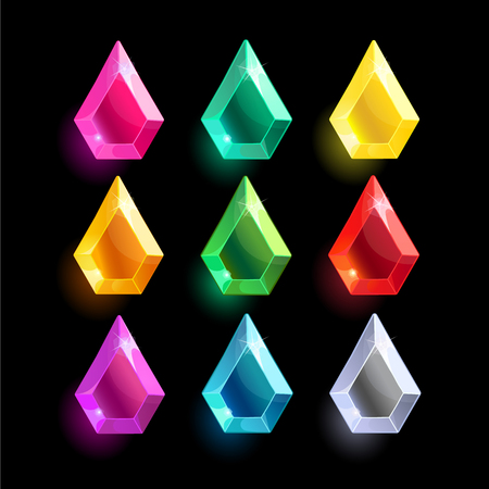 Set of cartoon different color crystals,gemstones,gems,diamonds vector gui assets collection for game design.isolated vector elements.Gui elements, vector games assets.menu for mobile games Illustration
