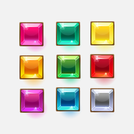 shiny buttons: Beautiful glossy crystal square shapes for web or game design, vector colorful shiny buttons on white background.vector elements. Gui elements, vector isolated games assets. Illustration
