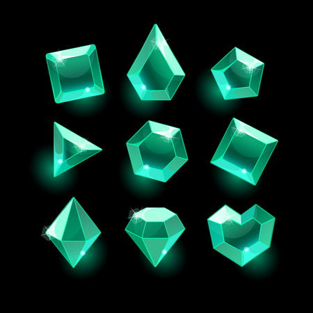 Set of cartoon green,emerald different shapes crystals,gemstones,gems,diamonds vector gui assets collection for design.isolated vector elements.Gui elements, vector games assets.menu for mobile games