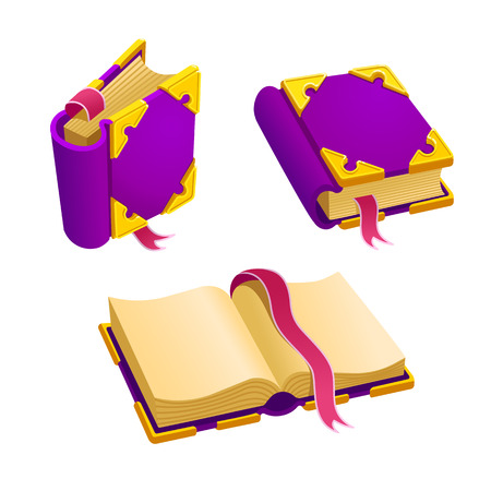 Set of cartoon purple book from different angles.Isolated elements for game design.