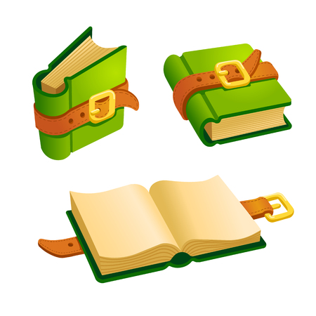 Set of cartoon green book from different angles.Isolated elements for game design.