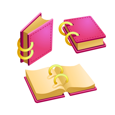 Set of cartoon pink book from different angles.Isolated elements for game design.