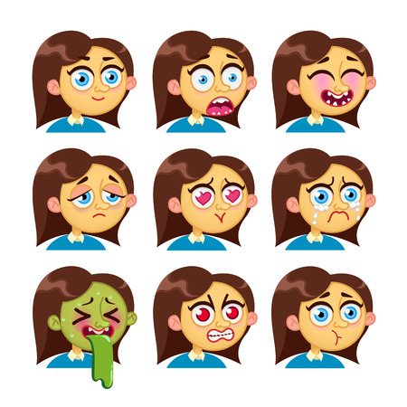 Cartoon Characters Girl Emotion Faces Woman Emoji Face Icons