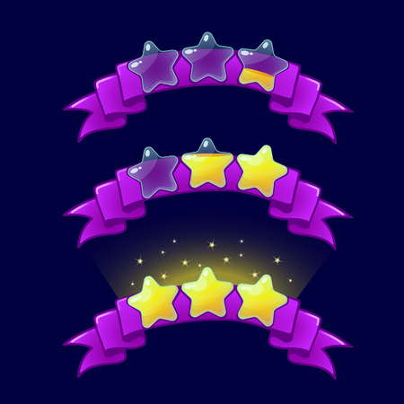 xp: Cartoon game XP rating icons, level complete templates, stars rank on purple ribbon, assets for games design, GUI elements.Ranking elements.For animation Illustration