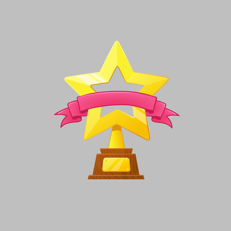 Winner gold cup with red ribbon. Trophy star icon. Championship and olympiad.Vector Game Golden stars icon.