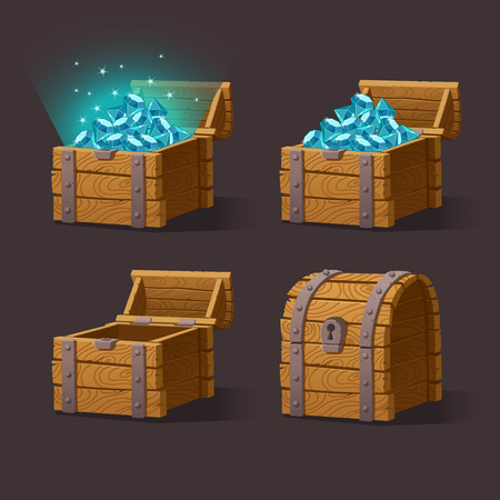 Wooden Chest set for game interface.illustration.Treasure chest of blue crystals,gemstones,diamonds on dark background closed, empty, chest with gems. Gui elements for mobile games