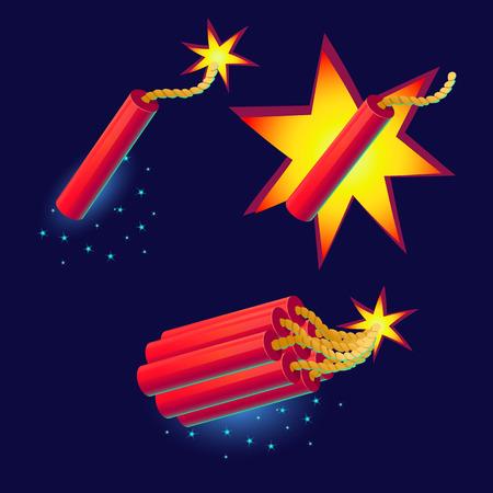 bomb: Bomb with sparkles icon. Illustration