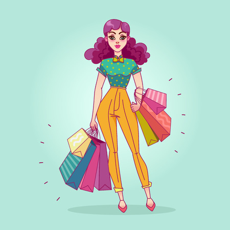 happy shopper: Girl with shopping bags from the store Illustration