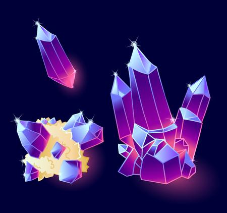 Magic crystals blue, purple colors.