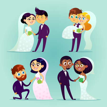 Multicultural wedding couples. Illustration