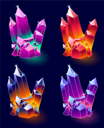 Mineral Crystals Vector.