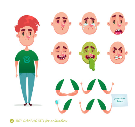 Boy character for your scenes.Parts of body template for design work and animation. Funny cartoon.Vector illustration isolated on white background.Man emotion faces.Boy emoji face icons and symbols. Ilustração