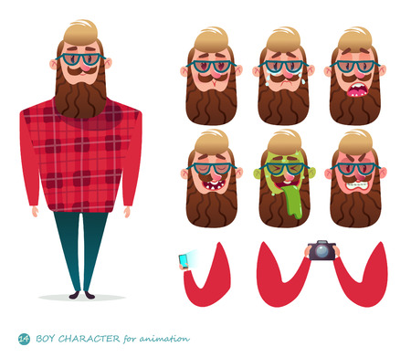 Boy character for your scenes.Parts of body template for design work and animation. Funny cartoon.Vector illustration isolated on white background.Man emotion faces.Boy emoji face icons.Photographer