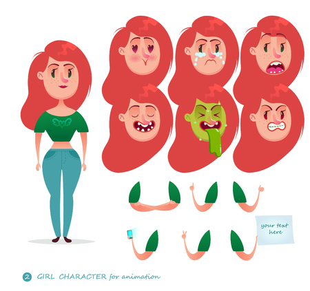 Girl character for your scenes. Parts of body template for design work and animation. Funny cartoon.Vector illustration isolated on white background. Emotion faces. Emoji face icons. Student. Woman