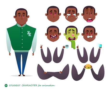 A man with different expressions for animation.