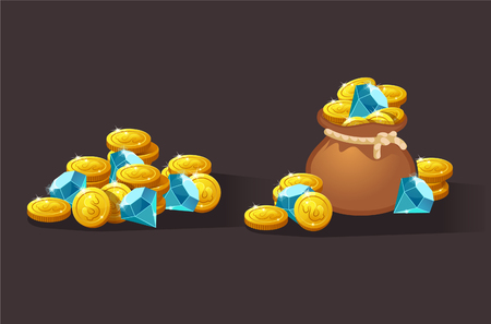 Diamonds and gold coins vector icons