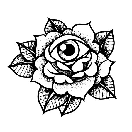 Old school rose tattoo with eye.